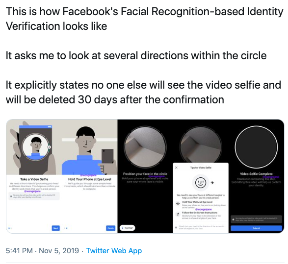 Facial Recognition based identity verification